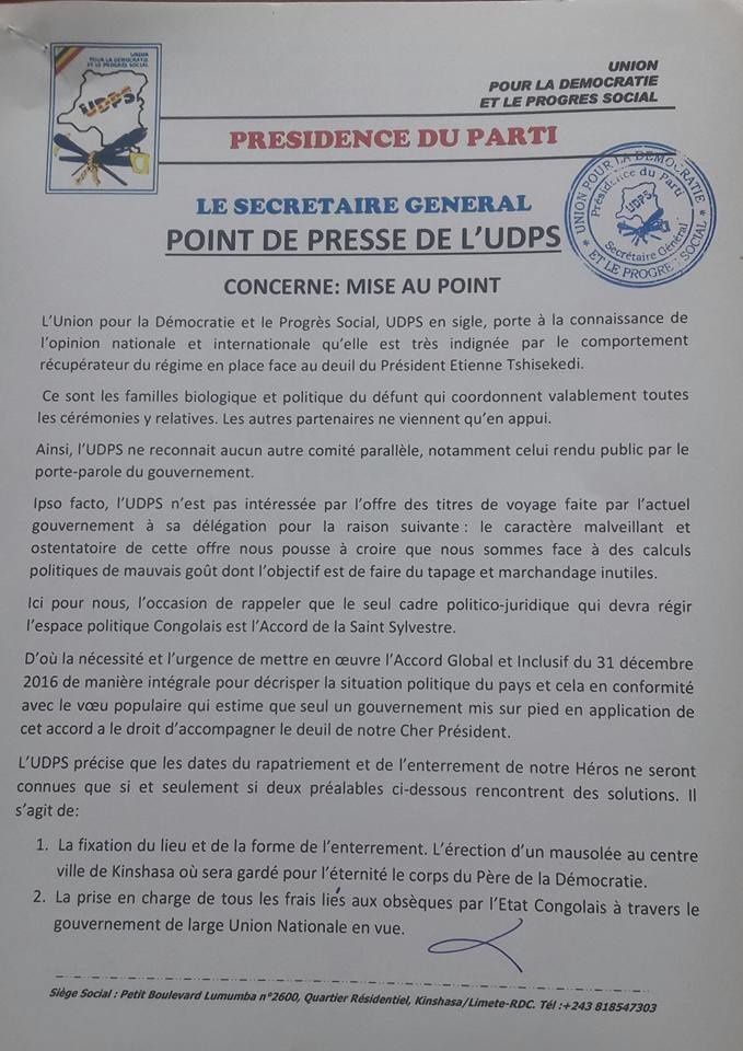 Document. Funérailles de Tshisekedi, mise au point de l'UDPS