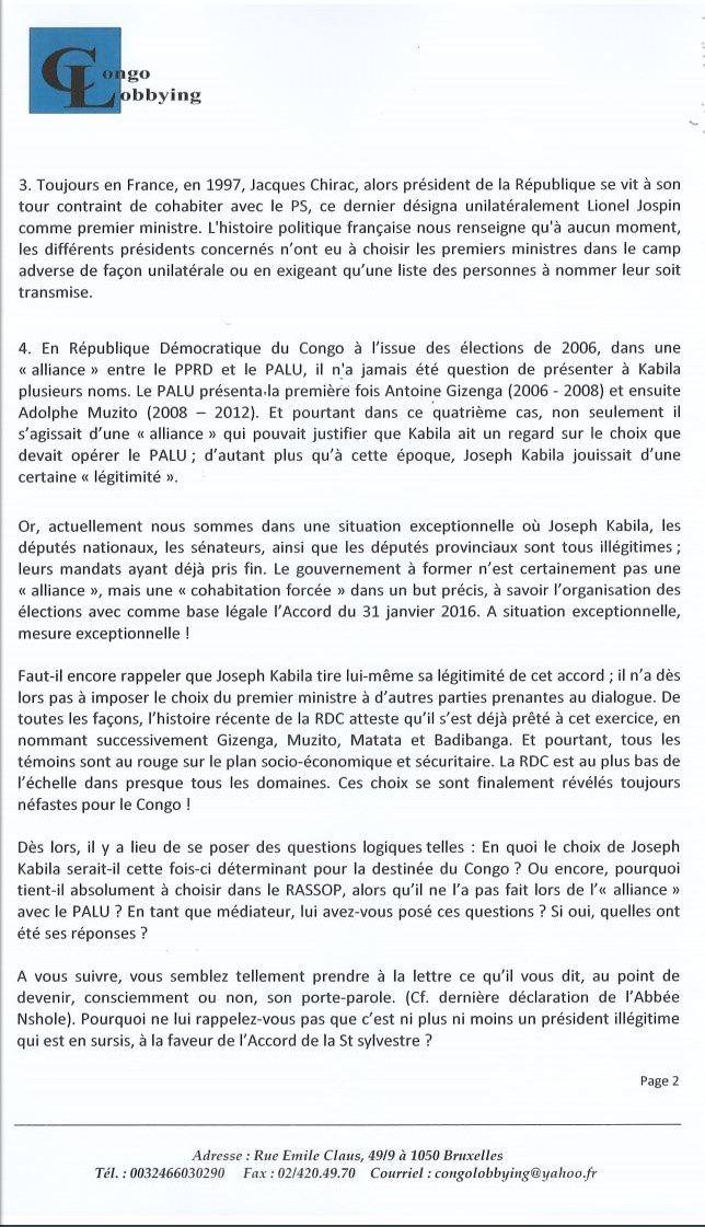 Lettre ouverte de Congo Lobbying à la CENCO : Agir pour le mieux de notre pays et pas d'un individu