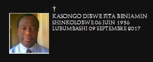 Adieu mon Frère Kasongo Dibwe Fita Benjamin