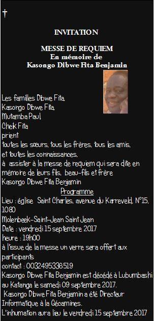 Messe de Requiem à Bruxelles en mémoire de Benjamin Kasongo Dibwe Fita