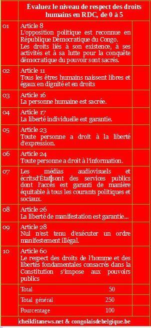 Evaluez le niveau de respect des Droits de l'Homme en RD Congo sous Kabila