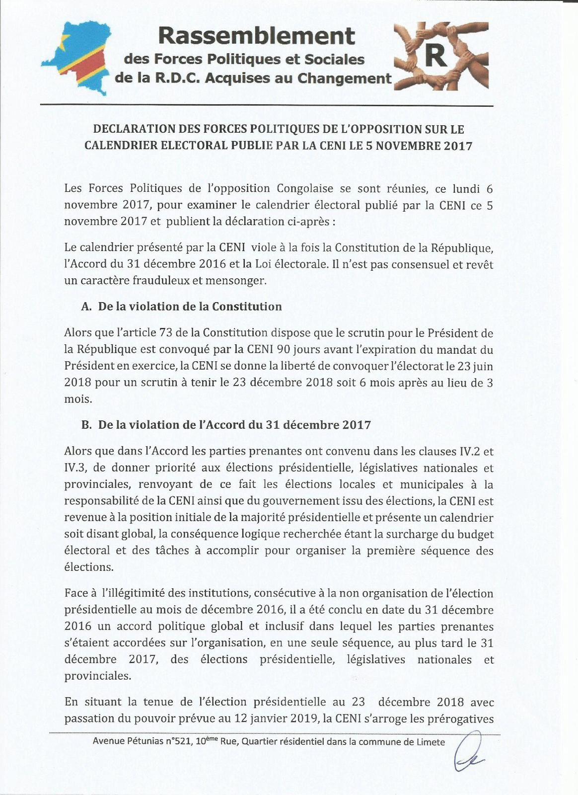Document. Position du Rassemblement à propos du calendrier électoral de la CENI
