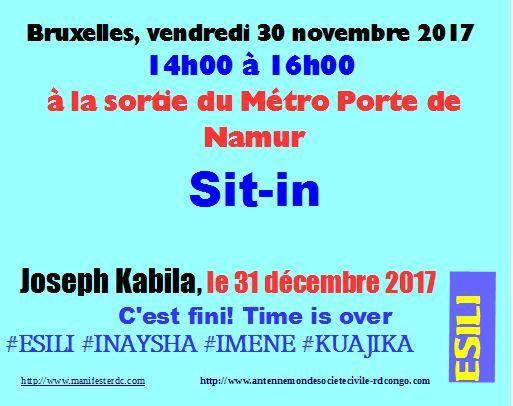 Bruxelles, 4è sit-in du vendredi pour le départ de J. Kabila avant le 31.12.2017