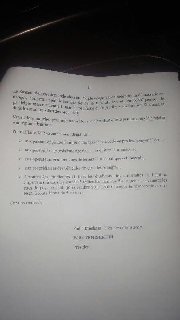 Félix Tshisekedi, Président du Rassemblement appelle le peuple congolais à manifester le 30/11/2017