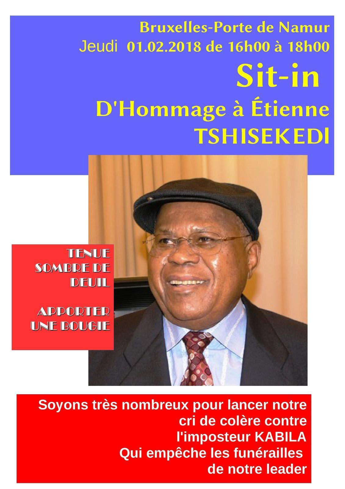 Invitation sit-in à Bruxelles en hommage à Etienne Tshisekedi