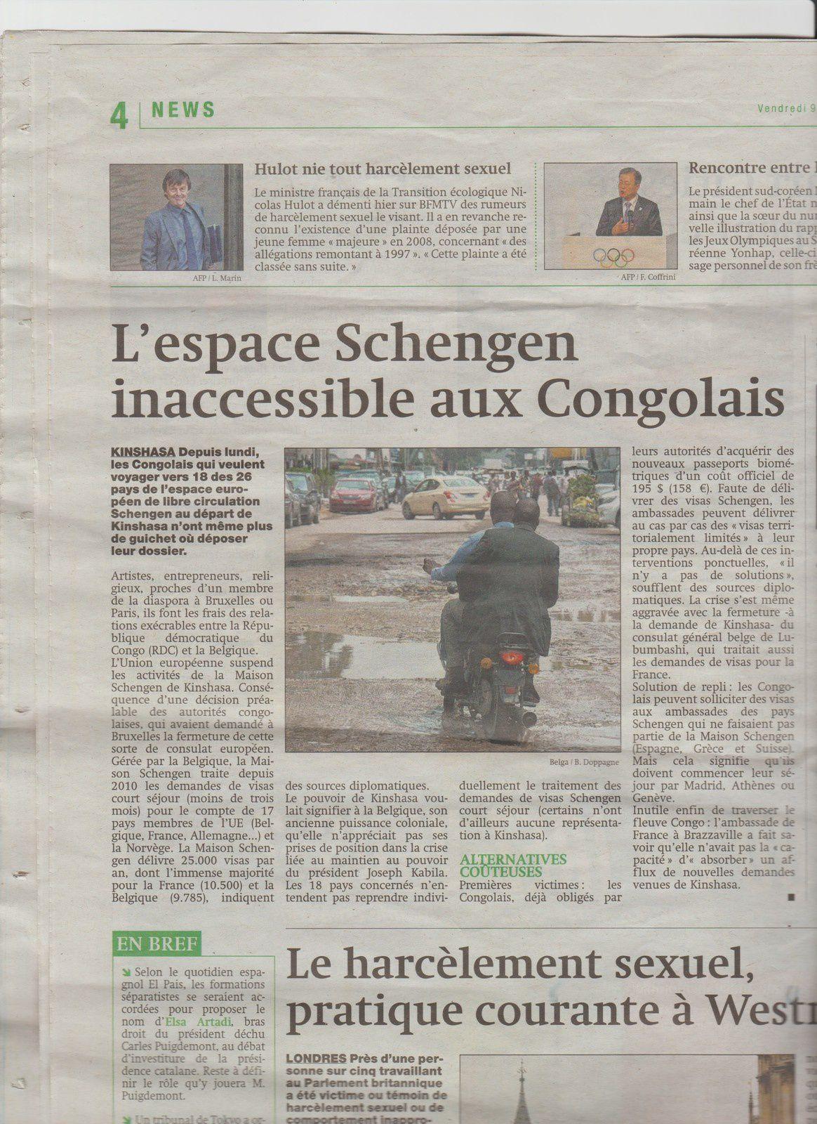 Lu pour vous: L'espace Schengen inaccessible aux Congolais