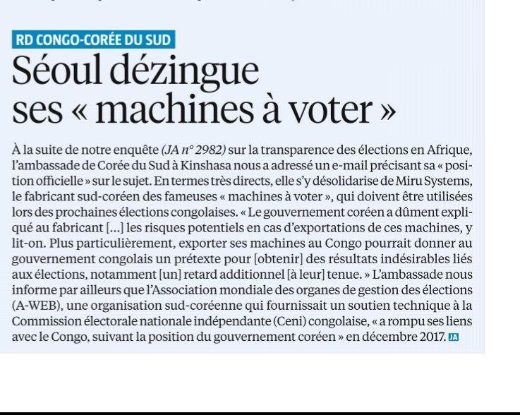 «L'autorité morale»des machines à voter de Nangaa les désapprouve!