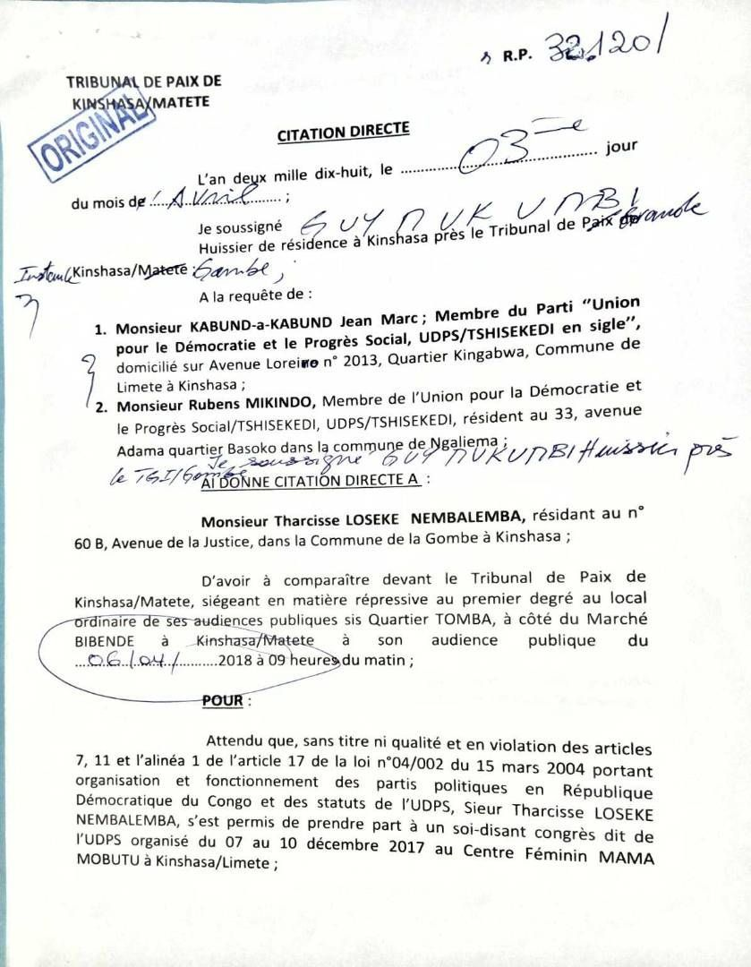 Citation directe de Jean-Marc Kabund contre...Tharcisse Loseke pour le 6 avril 2018!
