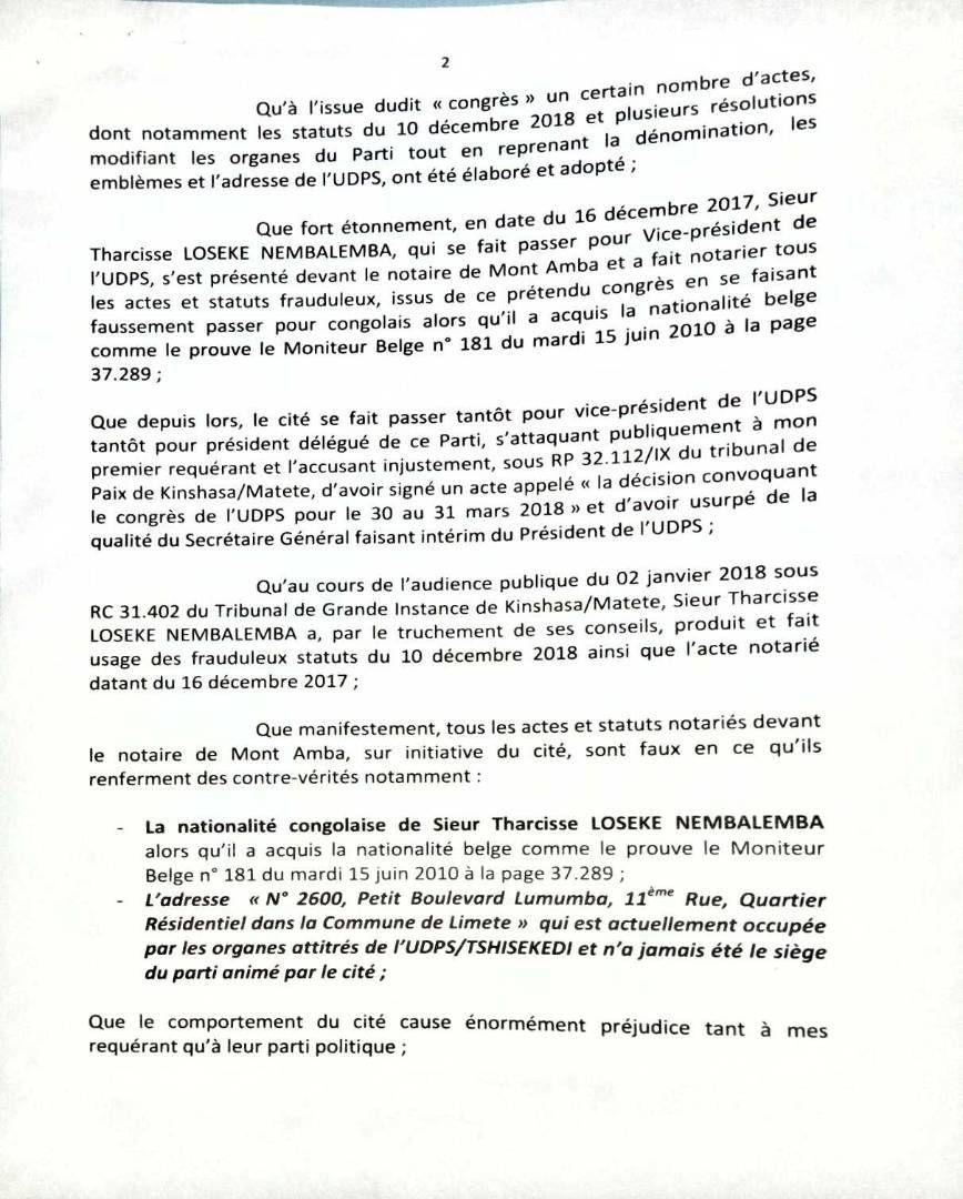 Citation directe de Jean-Marc Kabund contre...Tharcisse Loseke pour le 6 avril 2018!