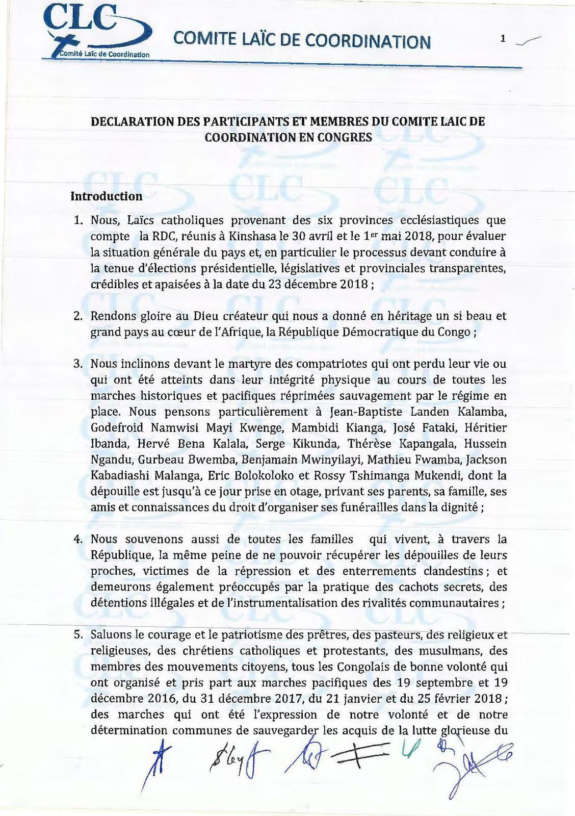 Le sévère avertissement du CLC à la CENI: «Ni report des élections, ni parodie électorale»