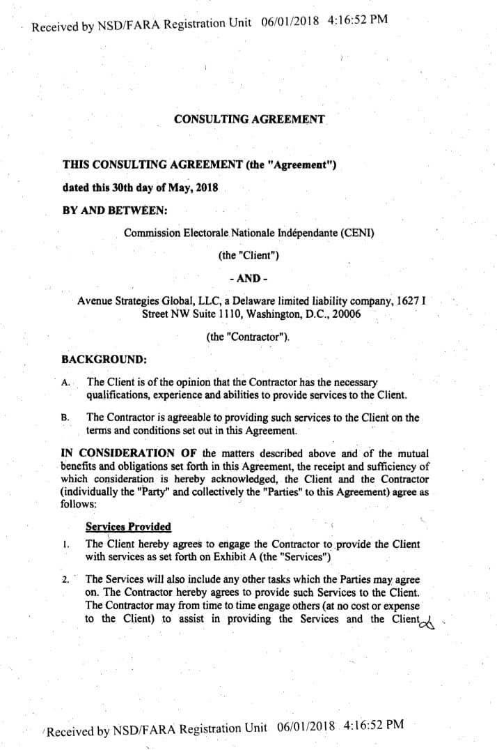 Lu pour vous Nangaa signe un contrat à Washington pour le lobbying. de la CENI:19.000 $ chaque mois!