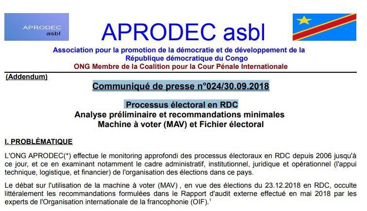 Communication. Communiqué asbl APRODEC  n°024/30.09.2018 Processus électoral en RDC