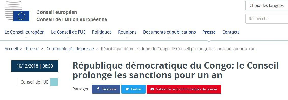 L'UE prolonge d'un an les sanctions contre Shadari et Cie
