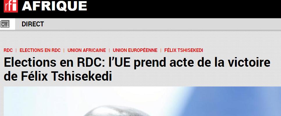 L'UE prend acte de la victoire de Félix Tshisekedi