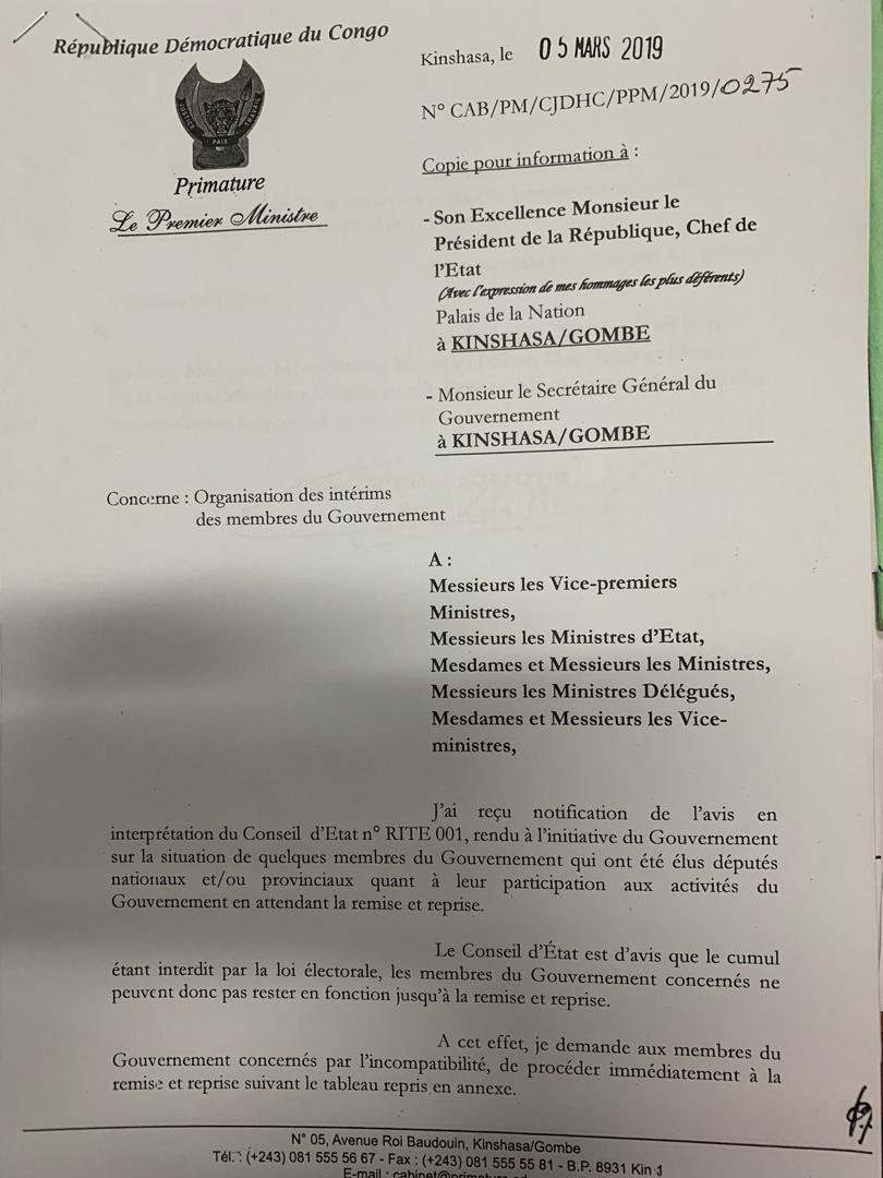 Intérim des ministres cumulards, Bruno Tshibala répartit les attributions