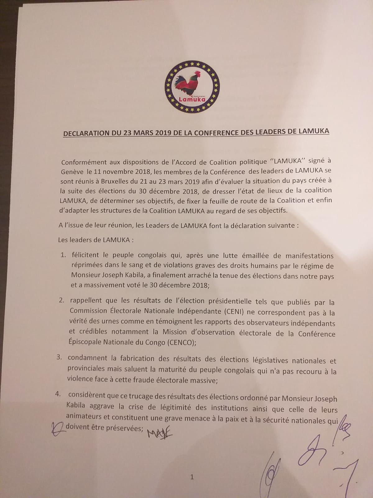 LAMUKA à Bruxelles: «Les résultats de la présidentielle congolaise par la CENI ne correspondent pas à la vérité des urnes»