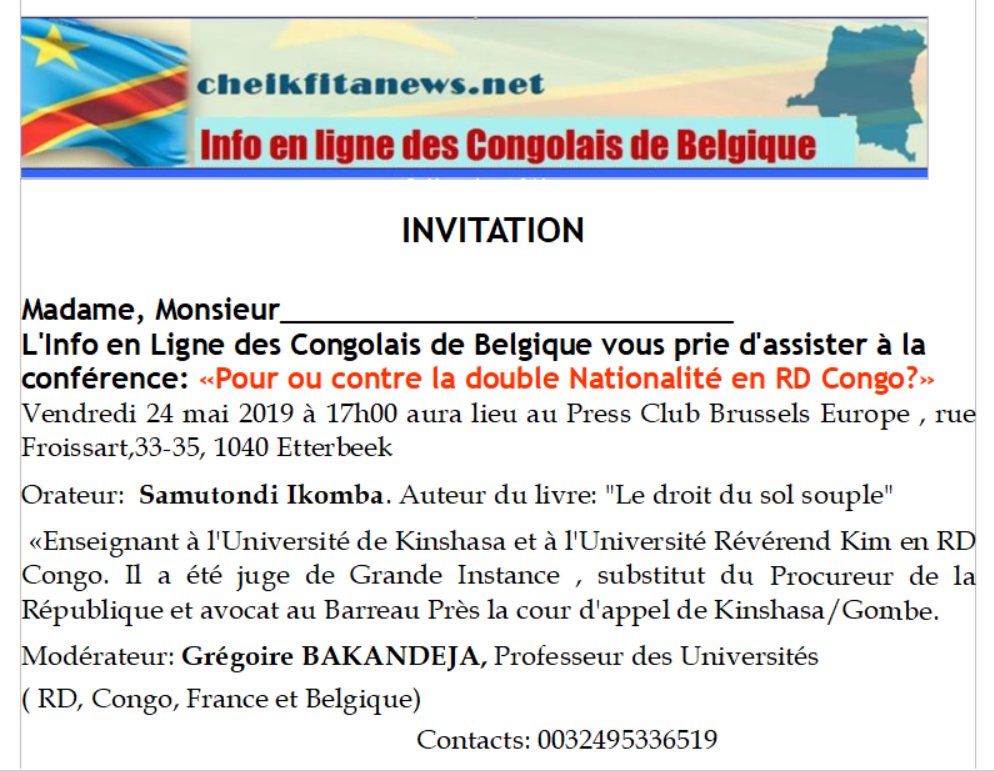 Invitation . Conférence sur la double nationalité en RD Congo. Press Club Brussels Europe. 24.05.2019