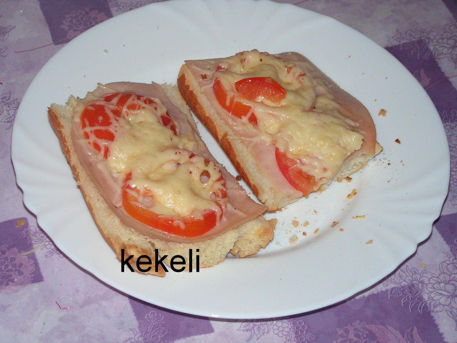 Baguette gratinée  et jambon de dinde
