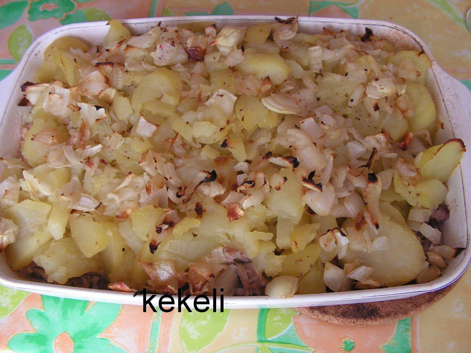 Gratin de pomme de terre au jarret de porc