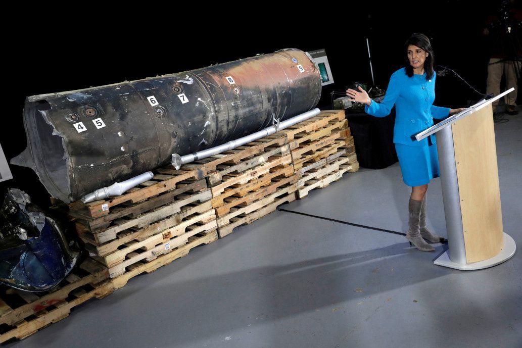 Nikki Haley, déléguée permanente américaine à l'ONU, et le missile tiré du Yémen sur l'Arabie