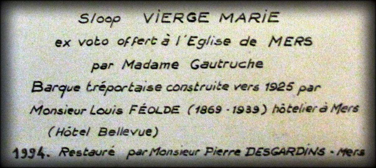"""Sloop """"Vierge Marie"""" (ex-voto), église de Mers-les-Bains"""