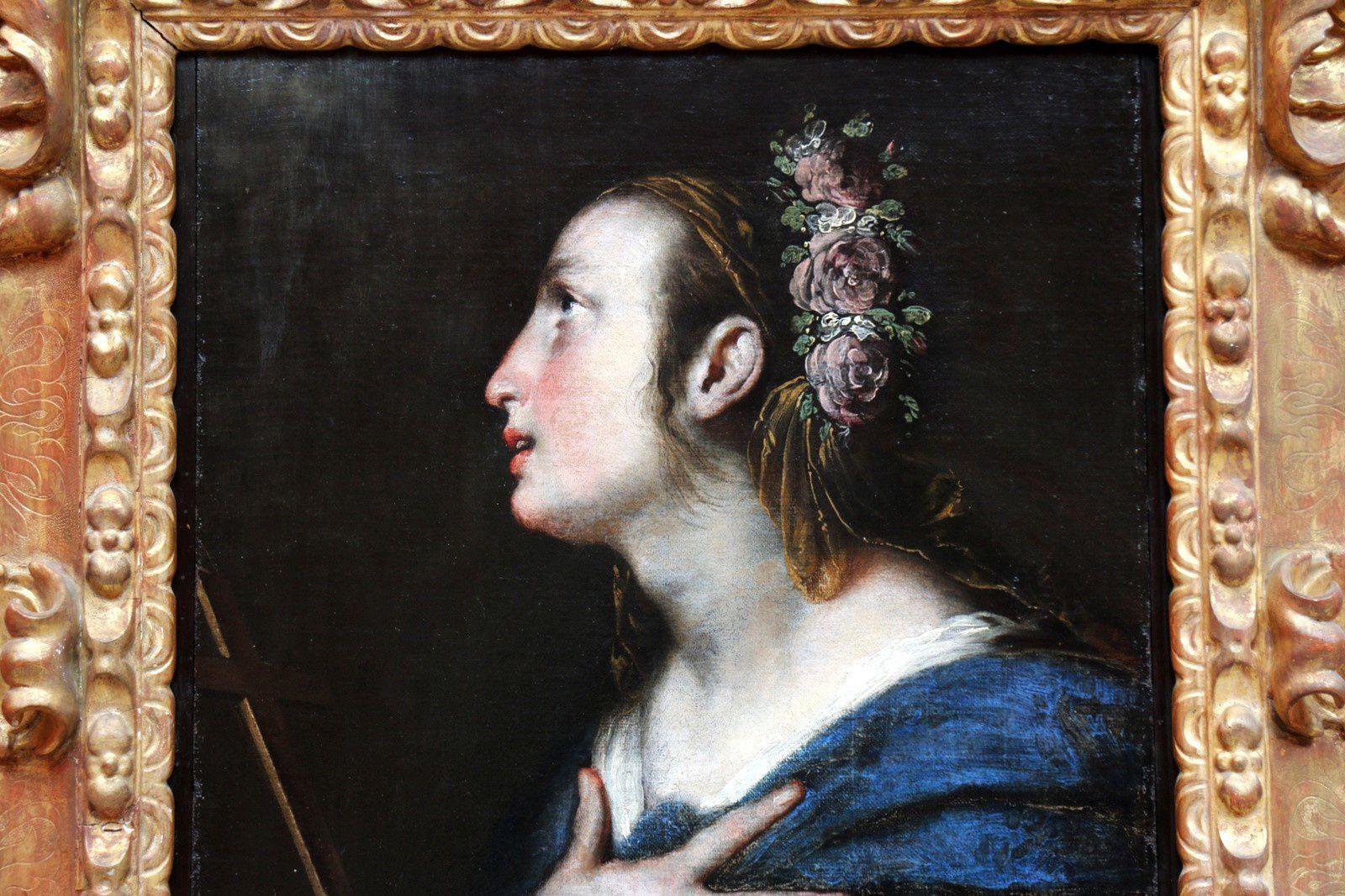 Sainte couronnée de fleurs par Bernardo Strozzi dit Il Cappuccino