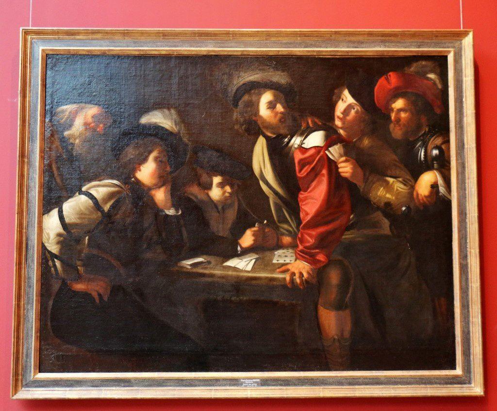 Soldats jouant aux cartes, tableau de Bartolomeo Manfredi