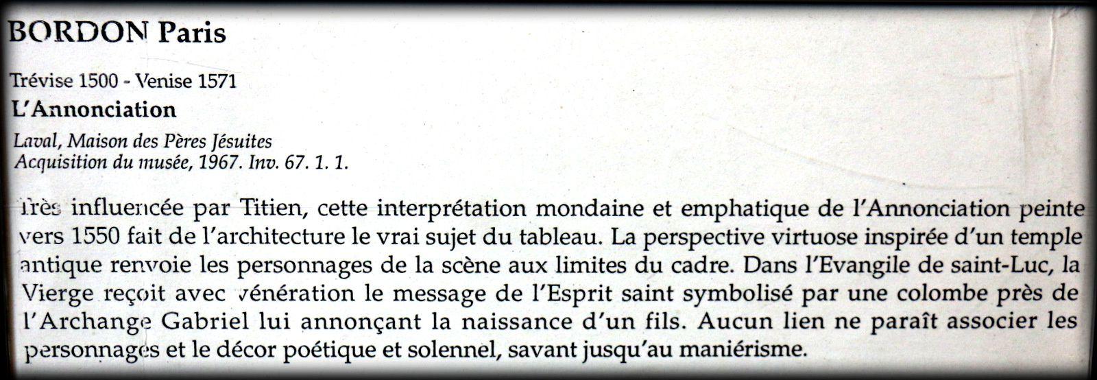 L'Annonciation, tableau de Paris Bordon