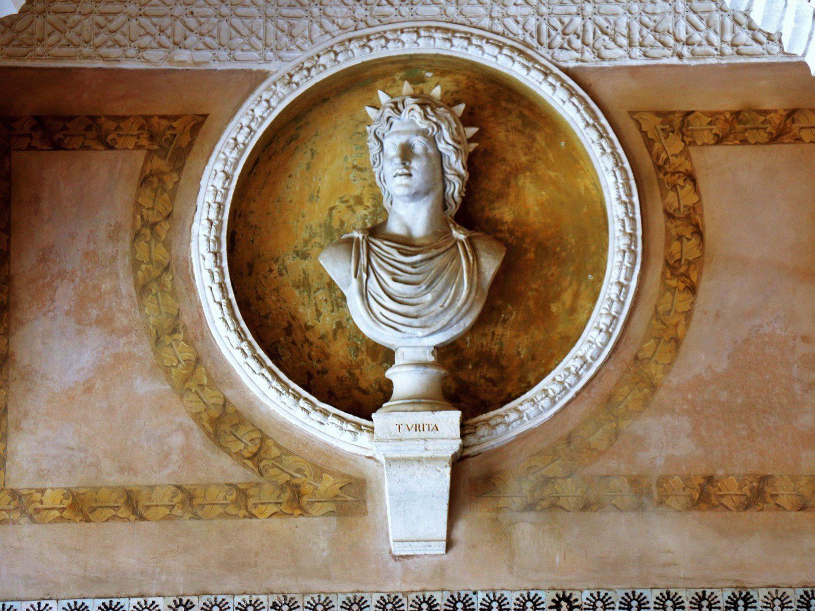 Les arcades et les bustes du patio de la maison de Pilate, Séville