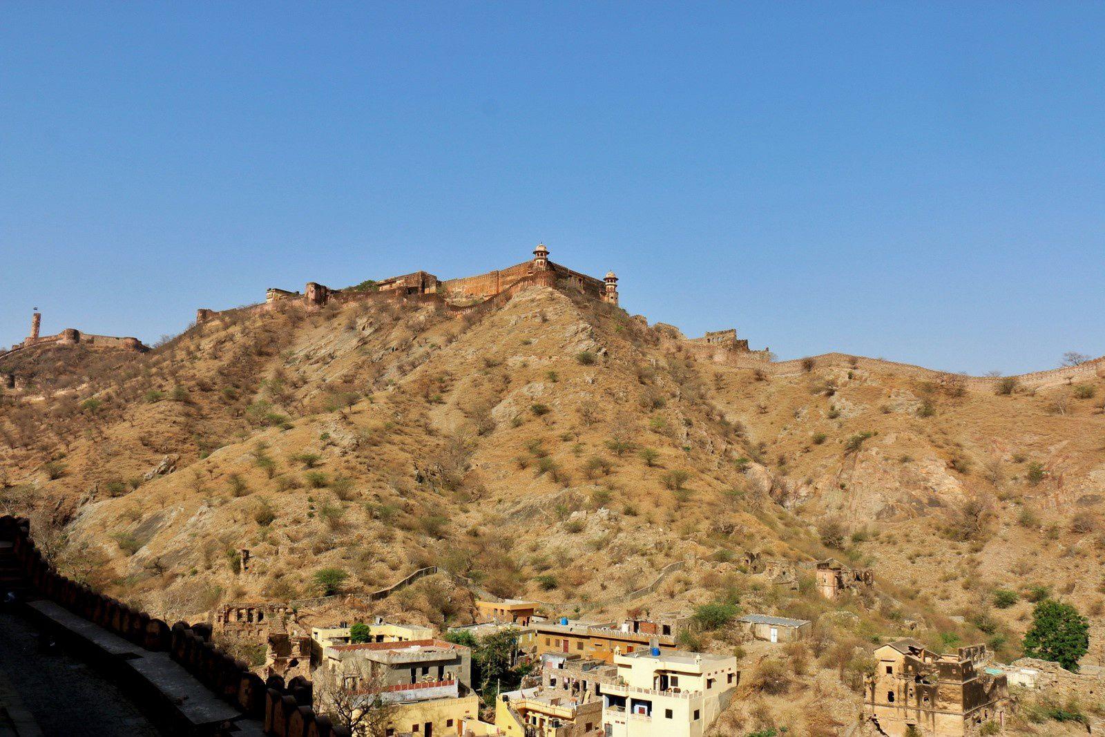 Les éléphants et le fort d'Amber, Rajasthan (Inde)