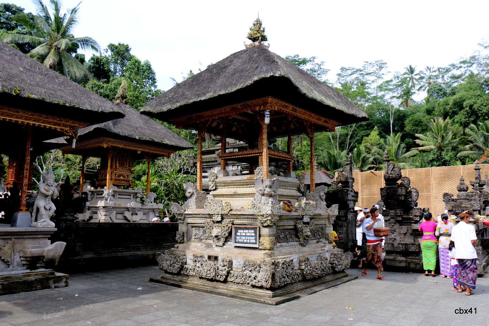 Pélerins et visiteurs du temple de Tirta Empul, Tampaksiring (Bali, Indonésie)