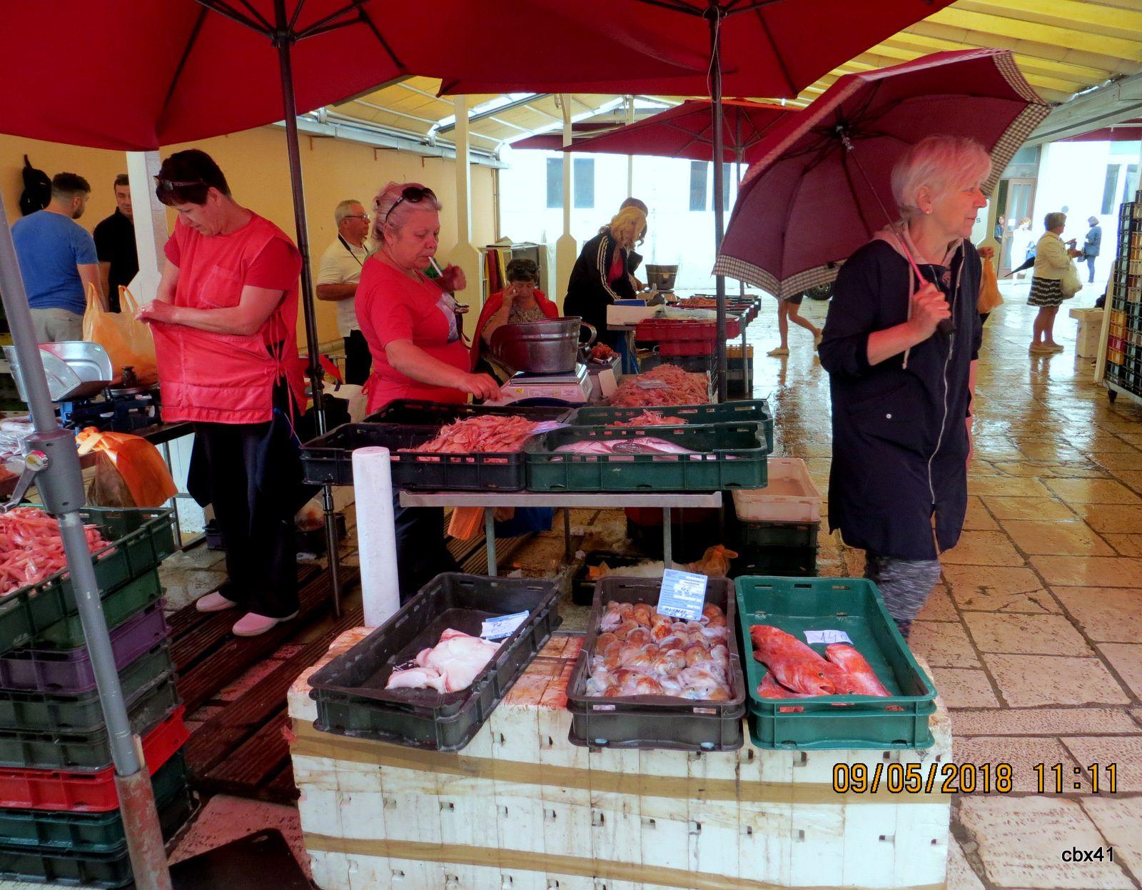 Marché aux poissons, centre historique de Split (Croatie)
