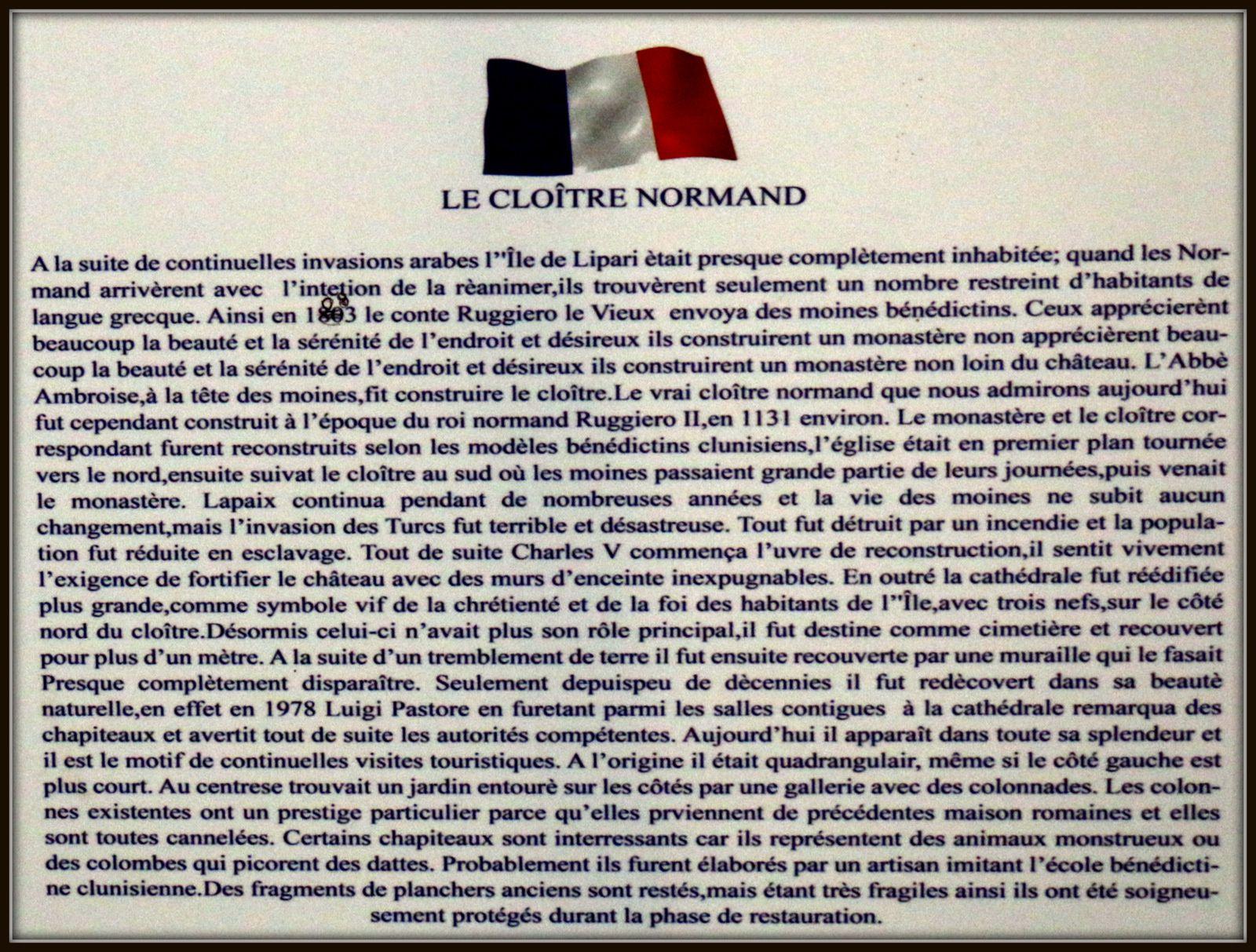 Chapiteaux et animaux, Cloître normand (Lipari)