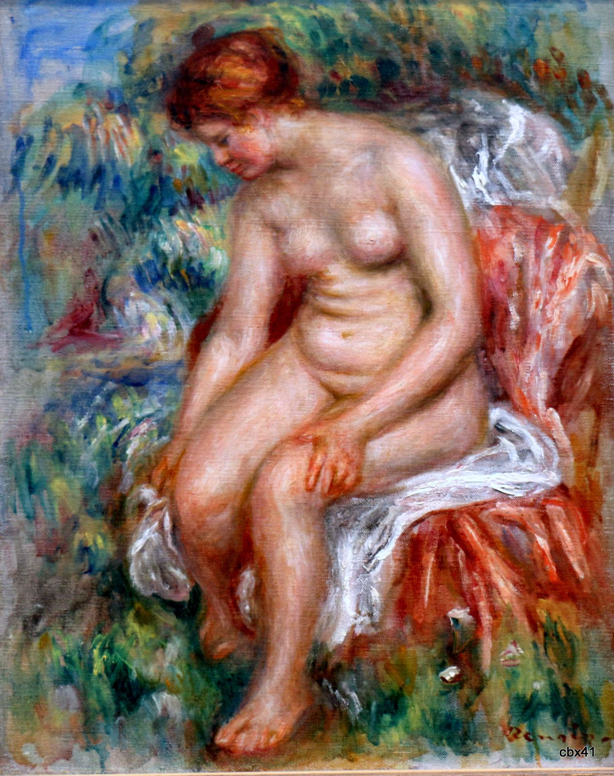 Pierre-Auguste Renoir, baigneuse assise s'essuyant une jambe