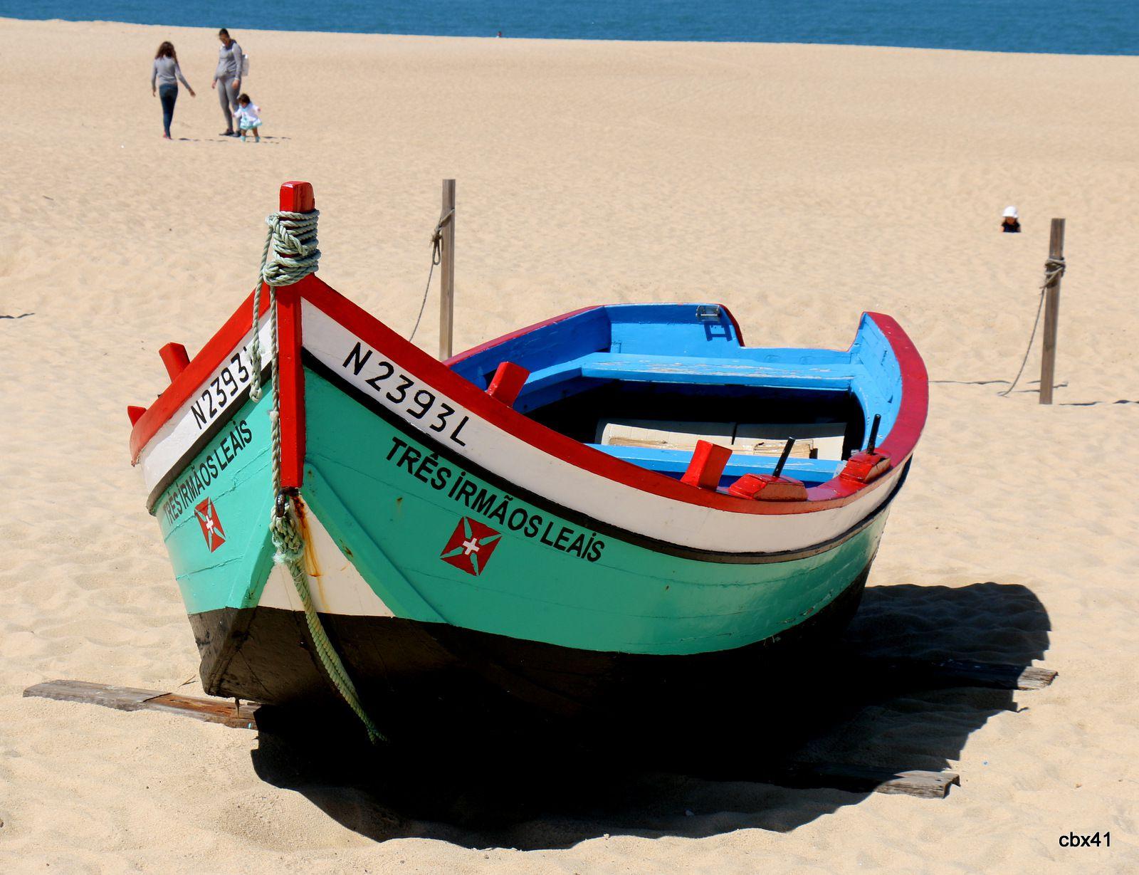 Les barques de la plage de Nazaré (Portugal)