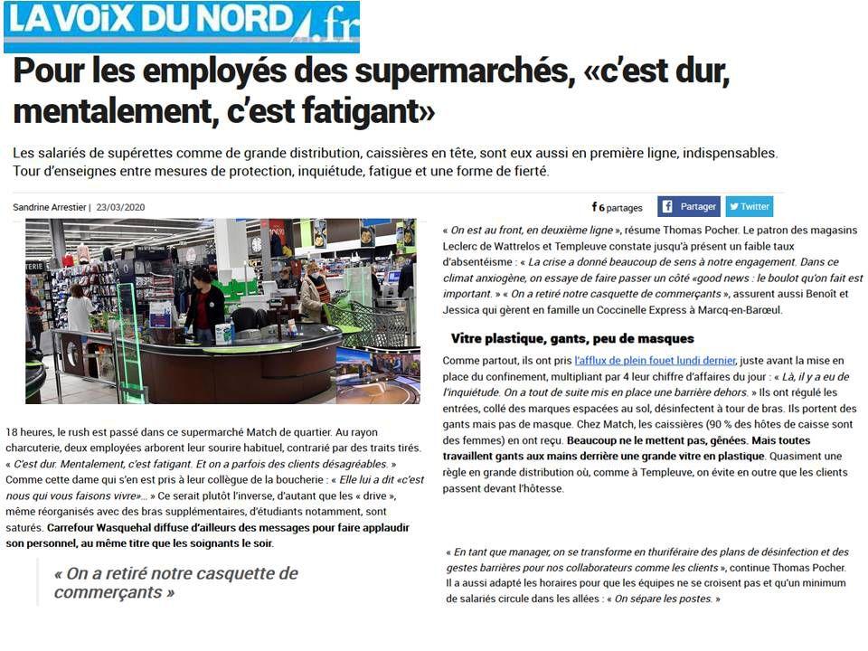 CORONAVIRUS : La CFDT Auchan et CARREFOUR MARKET font le point avec la VOIX DU NORD