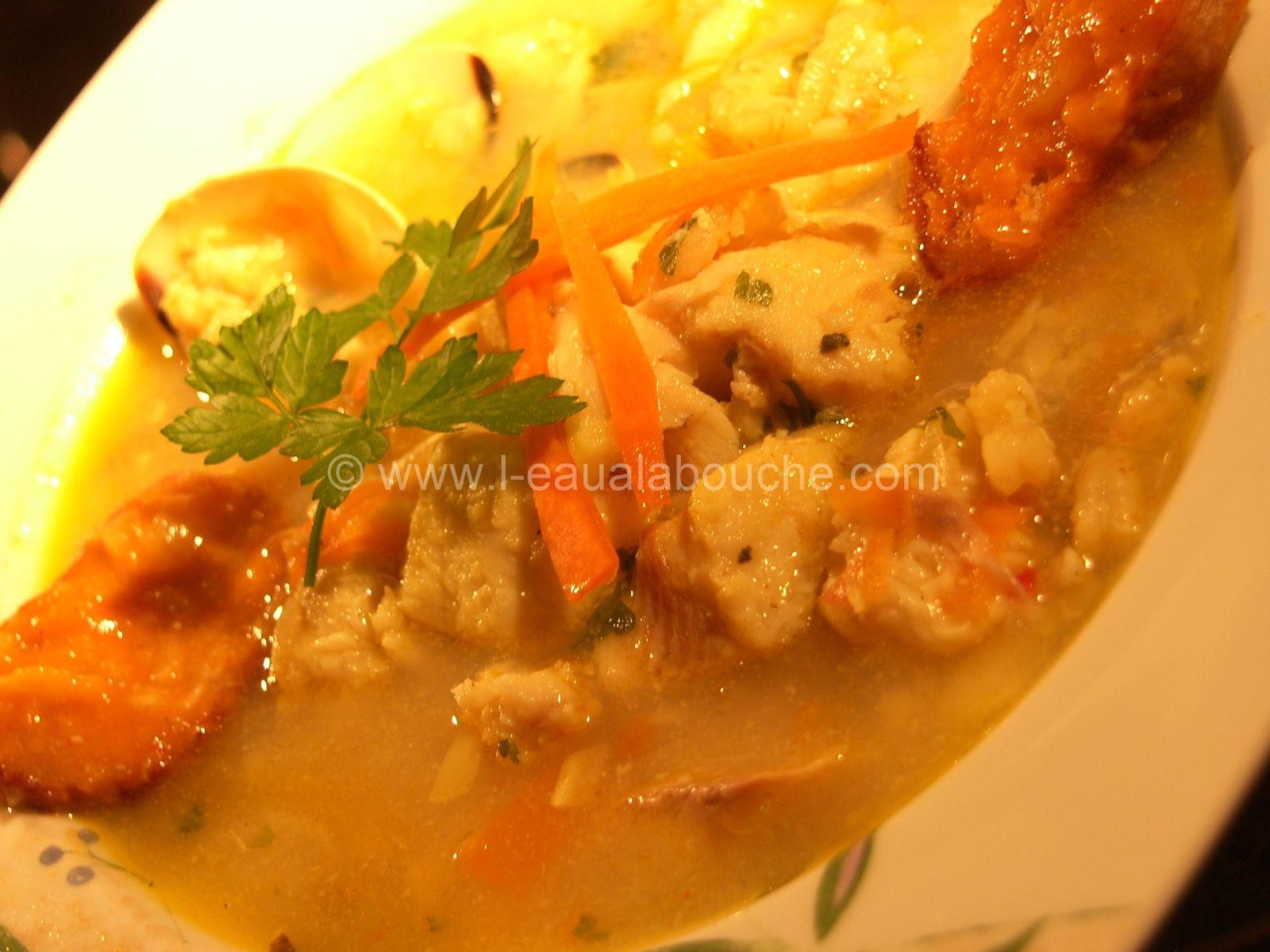 Soupe de Congre, Crevettes et Palourdes