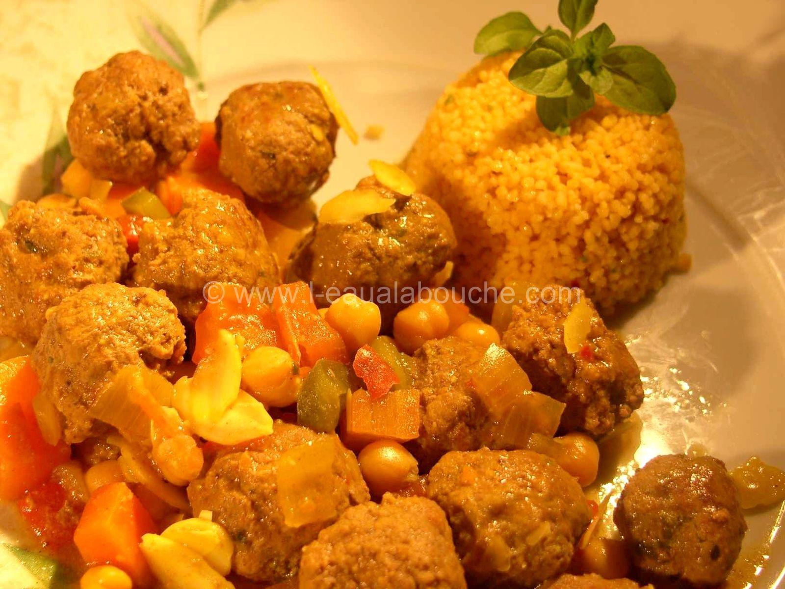 Tajine de Kefta Pois Chiche et Légumes