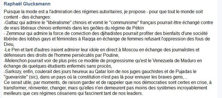 Raphaël Glucksmann sur Gattaz et quelques autres admirateurs de régimes autoritaires
