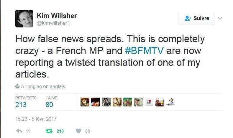 Fillon affirme que Kim Willsher a été choquée par l'utilisation de son interview. Elle dit le contraire sur Twitter