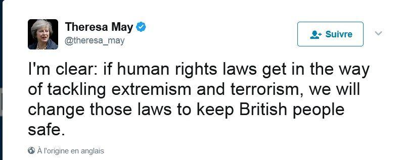 Theresa may n'en a cure des droits de l'homme