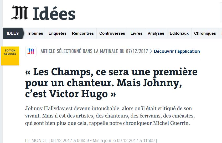 Non, Johnny n'est pas Victor Hugo !