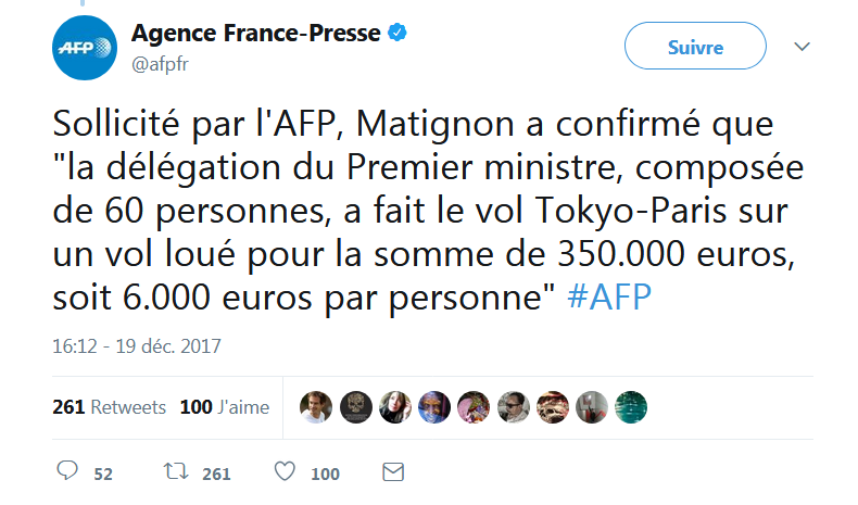 Le Premier Ministre en mode avion
