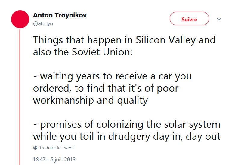 Things that happen in Silicon Valley and also the Soviet Union: