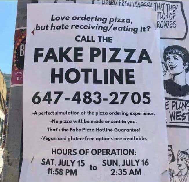 Fake Pizza Hotline