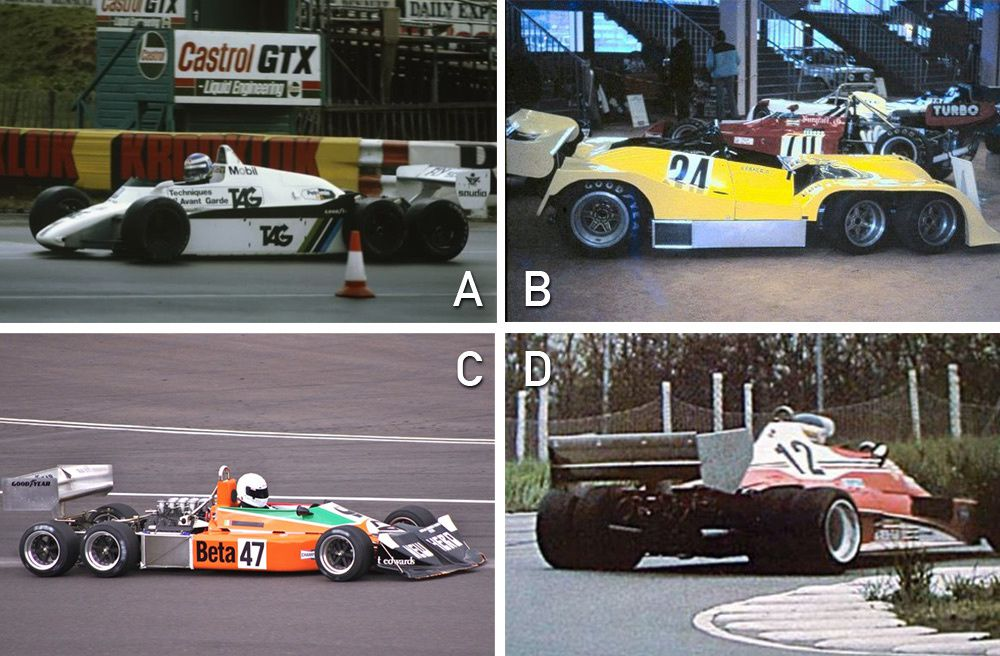 A : Williams FW08B, B : Lebacq DL7, C : March 2-4-0, D : Ferrari 312 T6