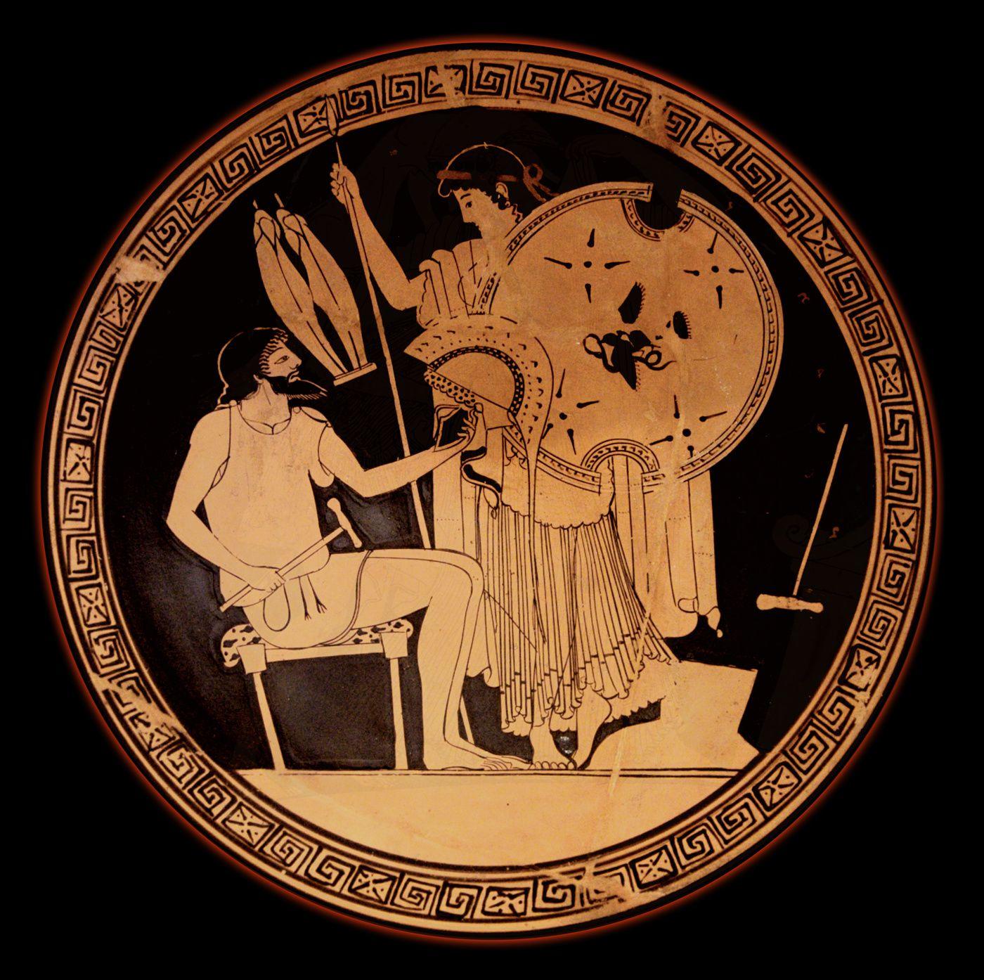 Héphaïstos remet à Thétis les armes qu'il vient de forger pour Achille - (Illiade) - Cratère à figures rouges Ve siècle av. J.C.