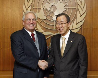 Ban Ki Moon, le Secrétaire général de l'ONU soutient son envoyé spécial Christopher Ross. Photo DR