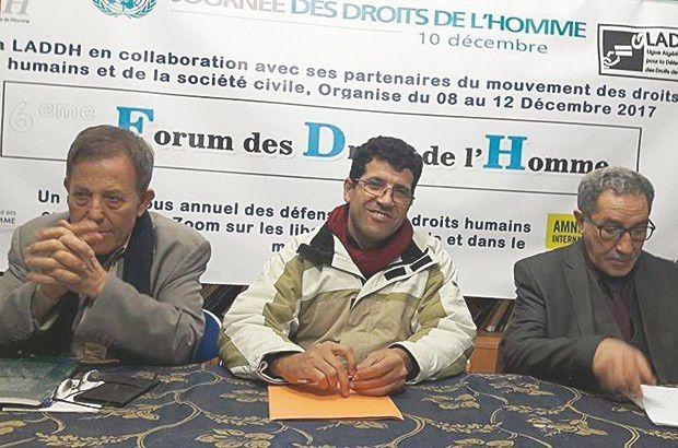 De gauche à droite : Hocine Zehouane, Saïd Salhi et Mokhtar Bensaïd. © D.R.