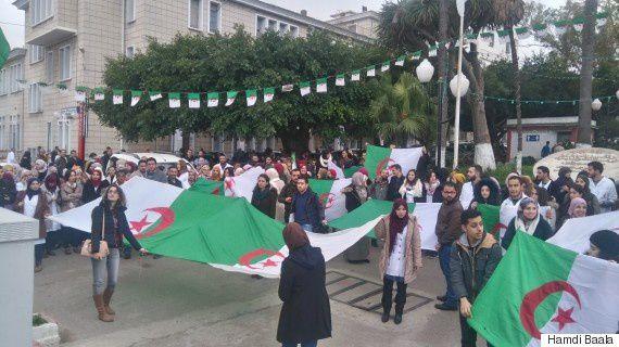 Rassemblement des médecins résidents à l'hôpital Mustapha à Alger, le 18 février 2018.